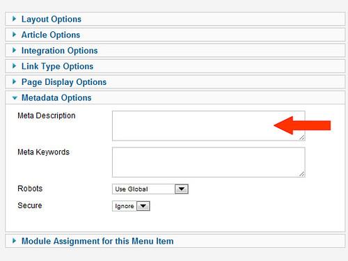 Joomla 2.5 easy page metadata setup