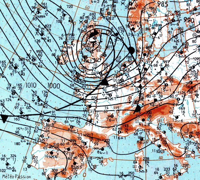 carte de situation de la tempête Daria le 25 janvier 1990 à 12 heures sur météopassion