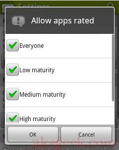 Android market allow content