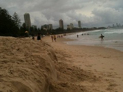 The king tides sand shelf on Burleigh Beach