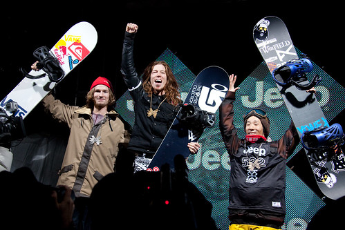 Snowboarding Superpipe podium