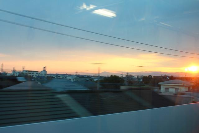 中央線からの夕日