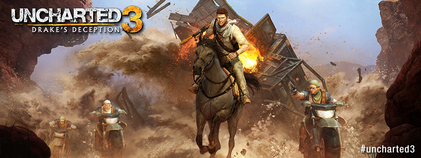 Facebook timeline cover image - Uncharted 3 Drake on a horse