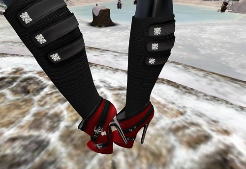 Crystal Line Angelina long Boots (red) Lucky board by Cherokeeh Asteria