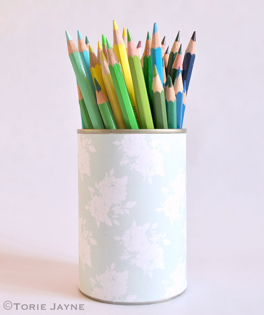 Up-cycled tin can pencil holder