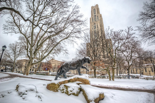 Panther Statue and Cathedral of Learning HDR