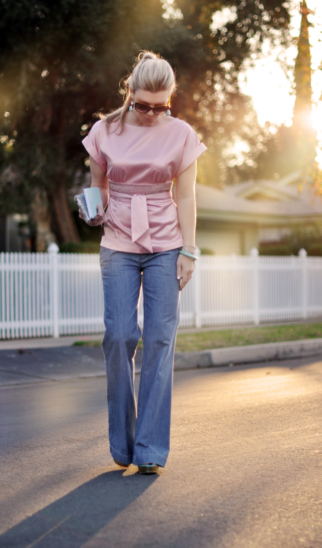pink satin top - wide leg jeans-sequins