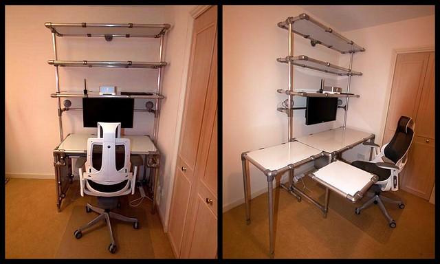 Individueller Schreibtisch aus Rohrverbindern