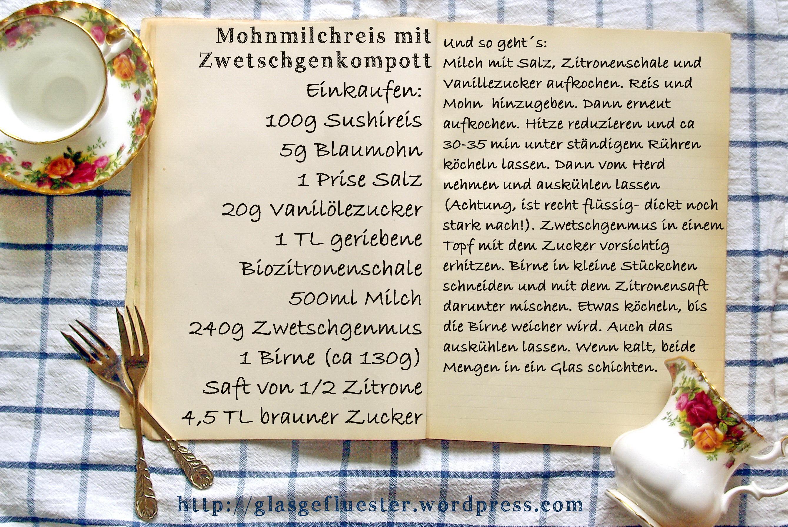 Einkaufszettel Mohnmilchreis by Glasgefluester