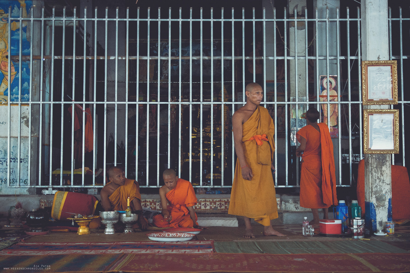 Monks resting after a long day of work