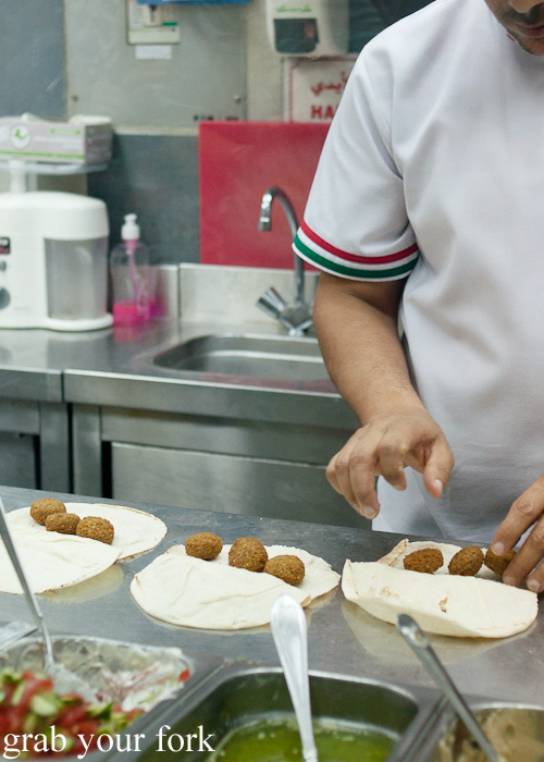 Jordanian falafel wraps during a Frying Pan Adventures food tour in Dubai