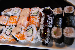 Soft-shell crab rolls, California rolls, Eel rolls and Spicy tuna rolls