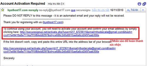 Vào email xác nhận