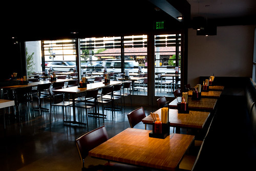 inside looking out at the patio in TAKE A BAO studio city by TAKE A BAO