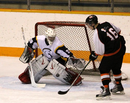 Travis Herlein at side of Trinity Western goal (horizontal Oct 14, 2011 Douglas Sage)