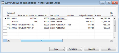 On Hold Field On Purchase Order in Vendor Ledger Entries