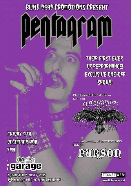 Pentagram garage london gig listings metal gigs