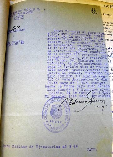 Oficio notificando la evasión de Francisco Casado Toribio