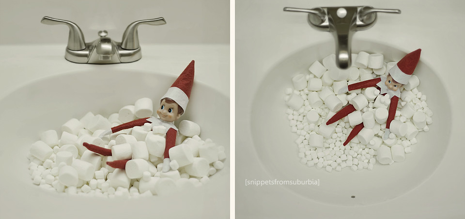 Marshmallow Bath Elf on the Shelf. Click for more ideas! #elfontheshelf
