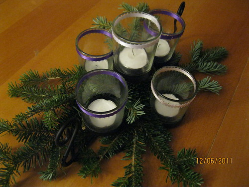"12/6/11: Extra tree branch bits add to our homemade advent ""wreath"""
