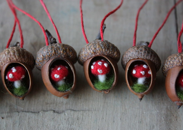 Acorn ornaments a whole lineup of tiny acorn ornaments i for How to make acorn ornaments
