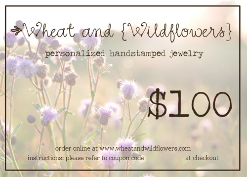 gift certificate 100 wheat and wildflowers