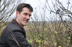 Rob picking sloe berries (with a Movember mo)