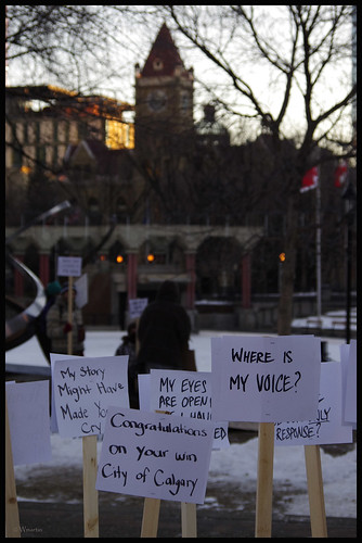 Occupy Calgary - eviction day - dawn by Wanderfull1