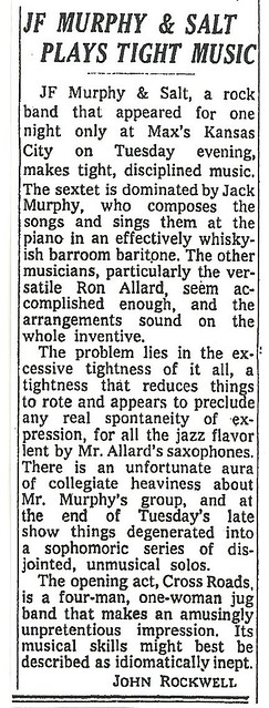 01-11-73 NYT Review - J.F. Murphy @ Max's