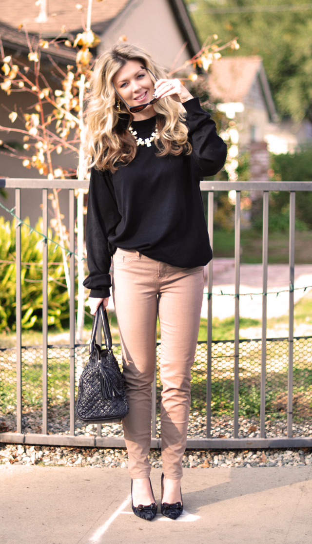 simple classic outfit- black sweater and taupe jeans