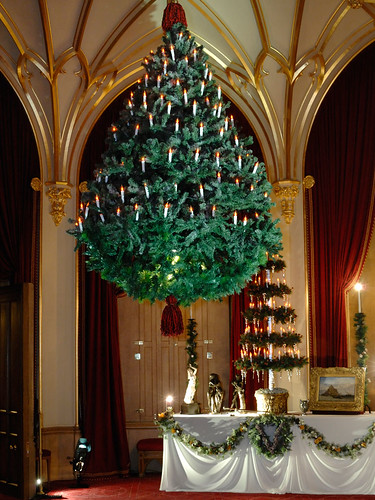 A suspended Christmas tree at Windsor Castle