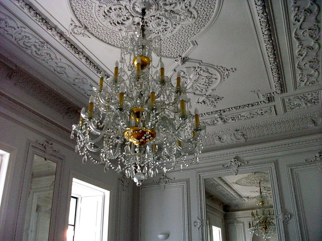 Chandelier in the common room in Lisb'on Hostel, Lisbon, Portugal