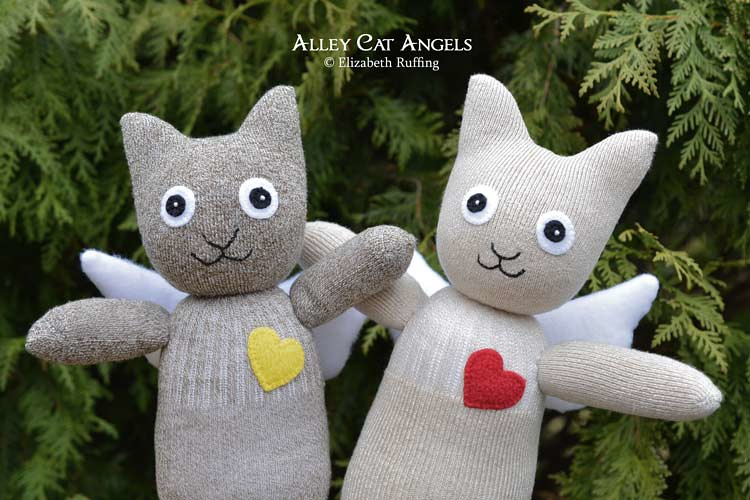 Alley Cat Angel Sock Kitten Art Toys by Elizabeth Ruffing, tan and brown tweed