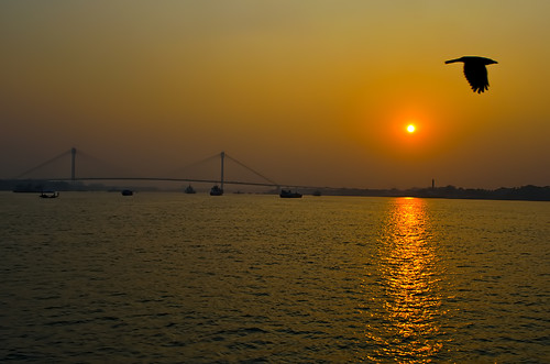 bridge sunset india river landscape nikon kolkata ganges westbengal howrah d5100