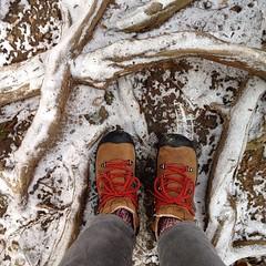 山道を振り返って: 雪。足元滑る。