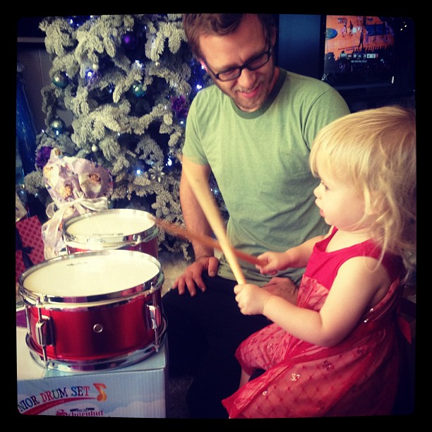My brother, who has been taking drum lessons from our 90yr old grandpa, now teaching his daughter how to play. #christmas