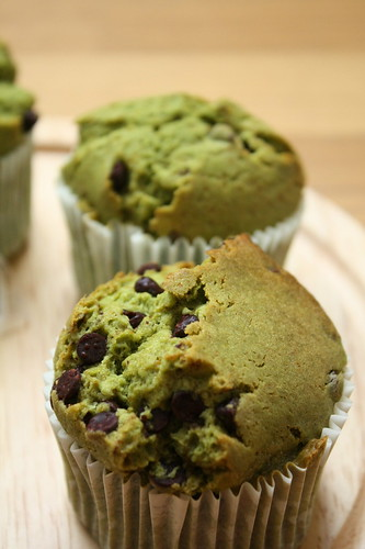 chocolate tip green tea muffin
