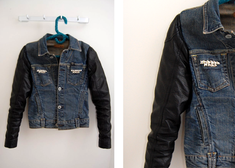 Leather sleeve denim jacket by Studs And Pearls