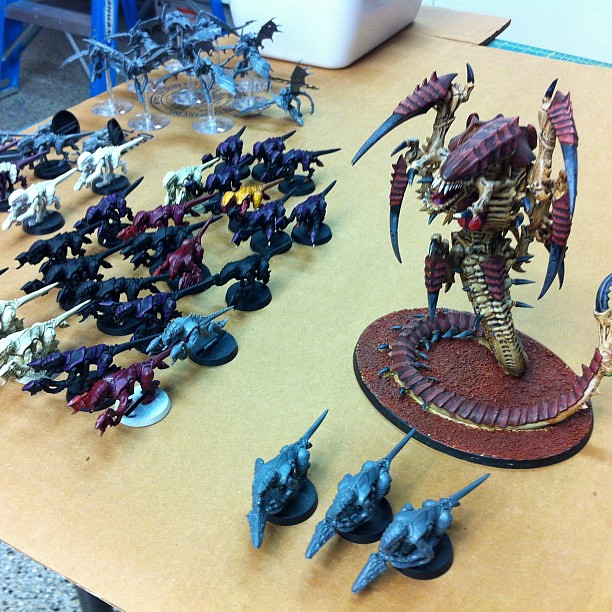 Project 365 363/365: My son's Tyranid Army for #Warhammer40K Fantasy. These little plastic things are ugly.