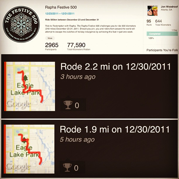 Only one day left! Intending on another 100miles to ensure a top 100 finish! 5am rollout! #festive500