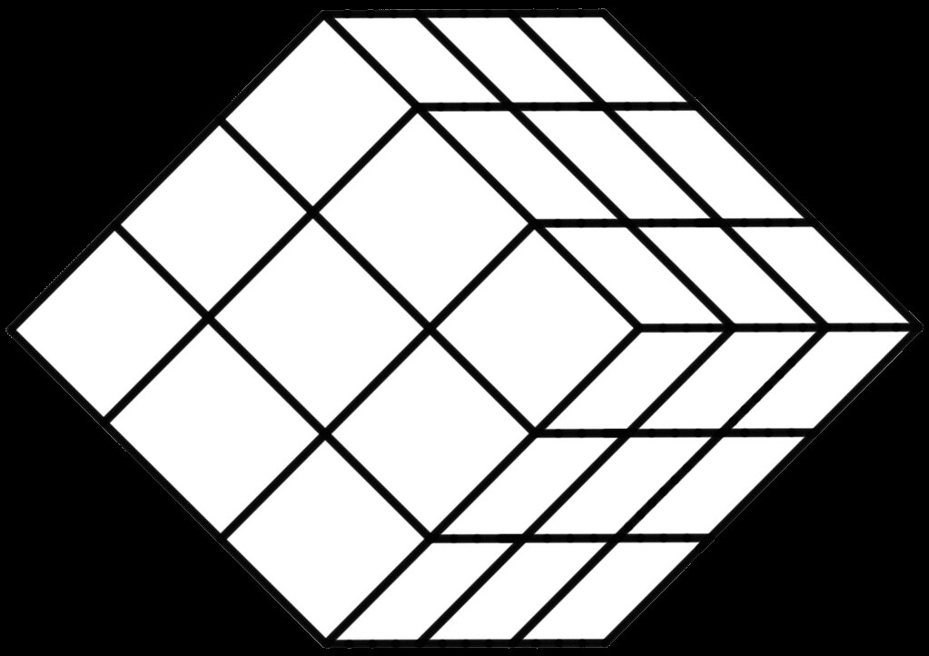 White Tilted 27-Section Rubik's Cube Template