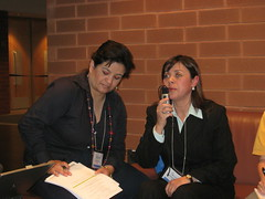 Maria Soledad Cisternas Reyes and her assistant