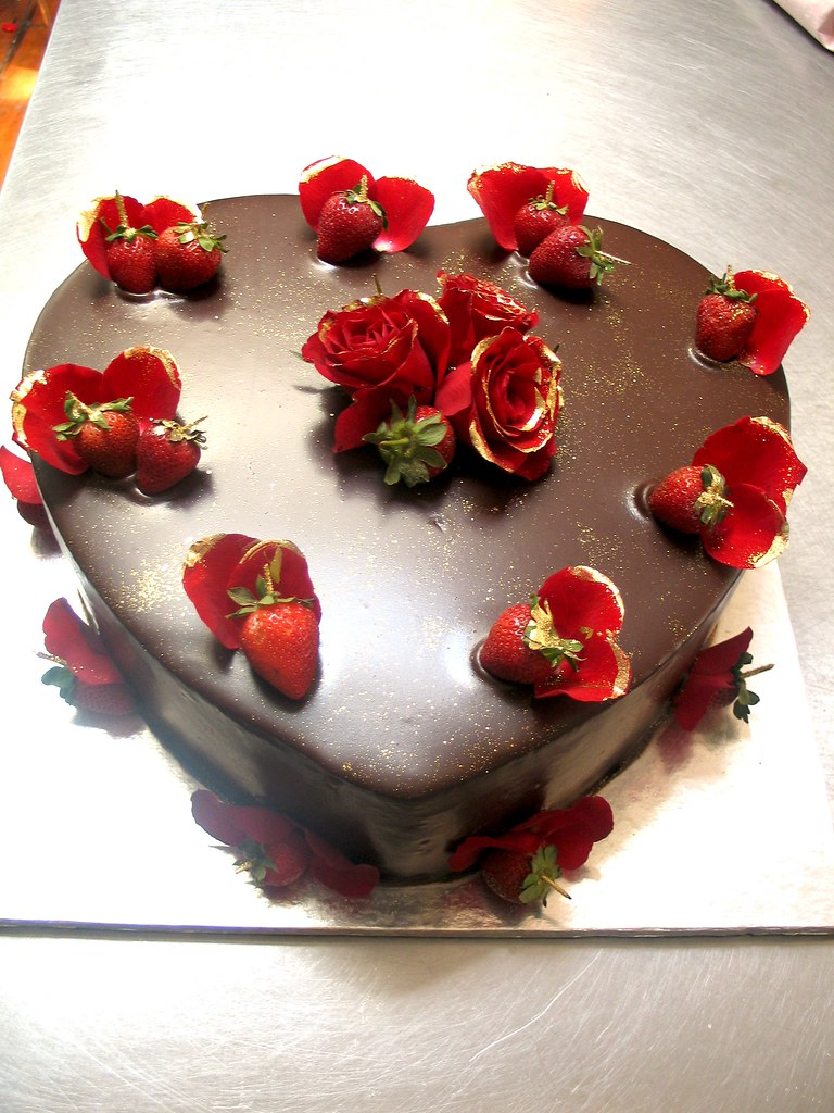 Heart Shaped Chocolate Cake With Strawberries On Top