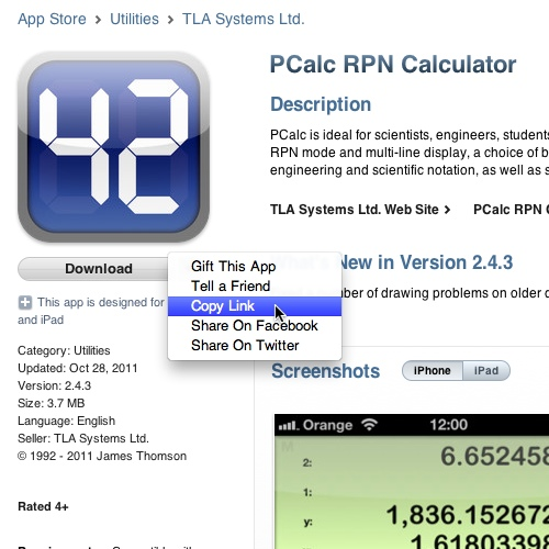 PCalc link in the App Store