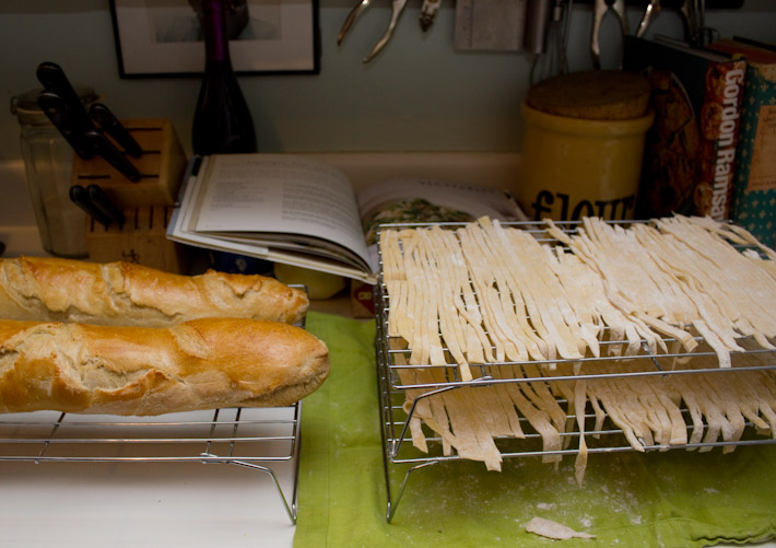 Freshly baked french bread and Fresh Pasta Noodles.