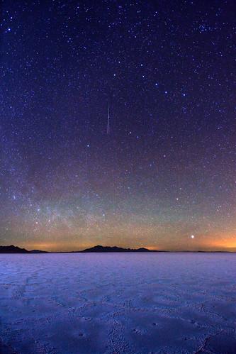 Big Dipper Stars and meteor over Bonneville Salt Flats
