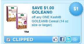 Kashi Golean Cereal (14 Oz Size Or Larger) Coupon