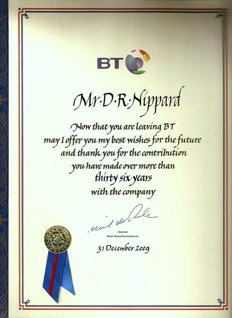 BT 36 years Service