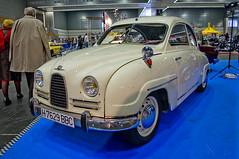 automobile, vehicle, auto show, mid-size car, compact car, antique car, sedan, classic car, vintage car, saab 96, land vehicle, motor vehicle, classic,