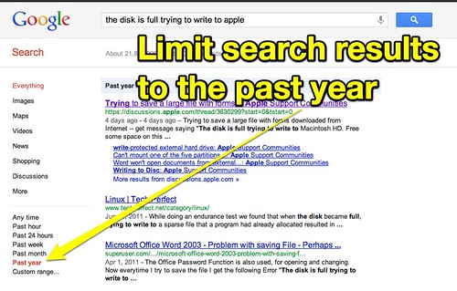 Limit Google Search Results to the Past Year